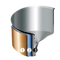 3-laags koperen pan van Mepra