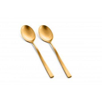 2x Serveer lepel Firenze Oro Ice (mat goud)