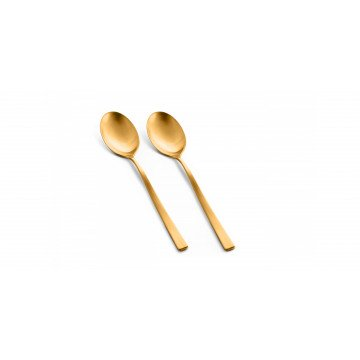 Set 2 serveerlepels Firenze Oro Ice (mat goud)