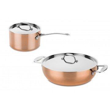 Bundel koperen braadpan + steelpan