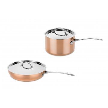 Bundel koperen koekenpan + steelpan