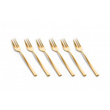 6 gebaksvorkjes Firenze Oro Ice (mat goud)